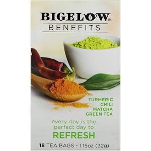 Bigelow, Benefits, Обновление, куркума, чили, маття, зеленый чай, 18 чайных пакетиков, 1,15 унц. (32 г)