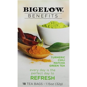Бигелоу, Benefits, Refresh, Turmeric Chili Matcha Green Tea, 18 Tea Bags, 1.15 oz (32 g) отзывы покупателей