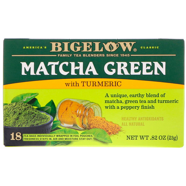 Bigelow, Matcha Green Tea with Turmeric, 18 Tea Bags, .82 oz (23 g)