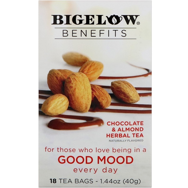Bigelow, Benefits,美好心情,巧克力和杏仁草本茶,18袋,1、44 oz (40 g)