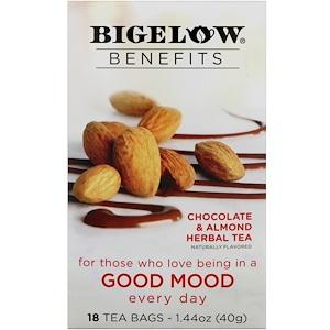 Bigelow, Benefits, Хорошее настроение, травяной чай с шоколадом и миндалем, 18 чайных пакетиков, 1,44 унц. (40 г)