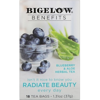 Bigelow, Benefits, Radiate Beauty, Blueberry & Aloe Herbal Tea, 18 Tea Bags, 1.31 oz (37 g)