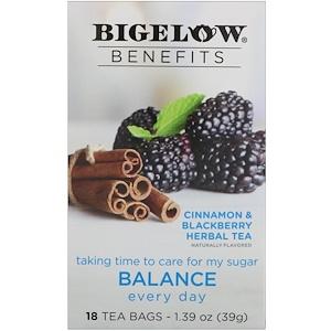 Bigelow, Benefits, Баланс, травяной чай с черникой и корицей, 18 чайных пакетиков, 1,39 унц. (39 г)