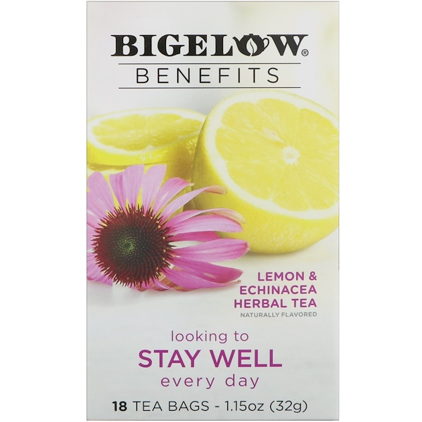 Bigelow, Benefits, Stay Well, Lemon & Echinacea Herbal Tea, 18 Tea Bags, 1.15 oz (32 g) (Discontinued Item)