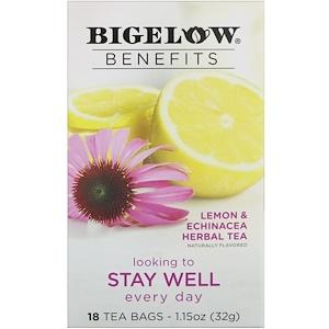 Bigelow, Benefits, Хорошее самочувствие, травяной чай с лимоном и эхинацеей, 18 чайных пакетиков, 1,15 унц. (32 г)