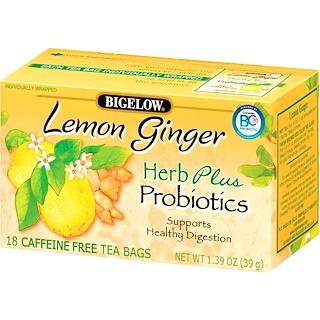 Bigelow, Herb Plus Probiotics, Lemon Ginger, Caffeine Free, 18 Tea Bags, 1.39 oz (39 g)