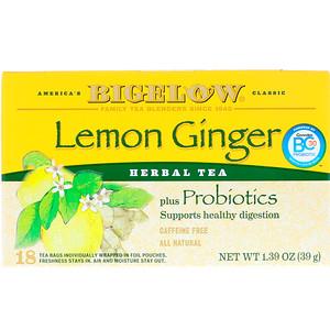Бигелоу, Herbal Tea Plus Probiotics, Lemon Ginger, Caffeine Free, 18 Tea Bags, 1.39 oz (39 g) отзывы покупателей