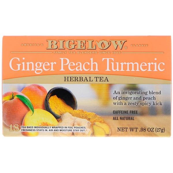Bigelow, Herbal Tea, Ginger Peach Turmeric, 18 Tea Bags, .98 oz (27 g) (Discontinued Item)