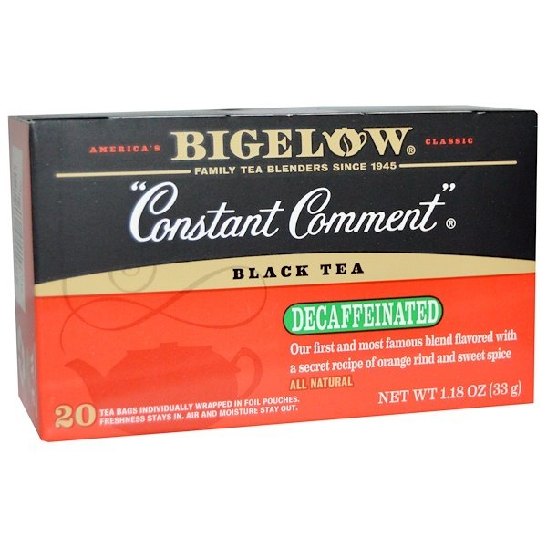 Bigelow, Black Tea, Constant Comment, Decaffeinated, 20 Tea Bags, 1.18 oz (33 g) (Discontinued Item)