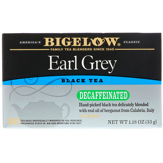 Bigelow, Earl Grey, Decaffeinated, Black Tea , 20 Tea Bags, 1.18 oz (33 g)