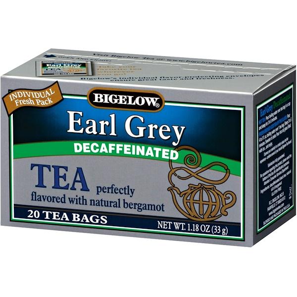 Bigelow, Earl Grey, декофеинизированный, 20 пакетиков, 1,18 унции (33 г)