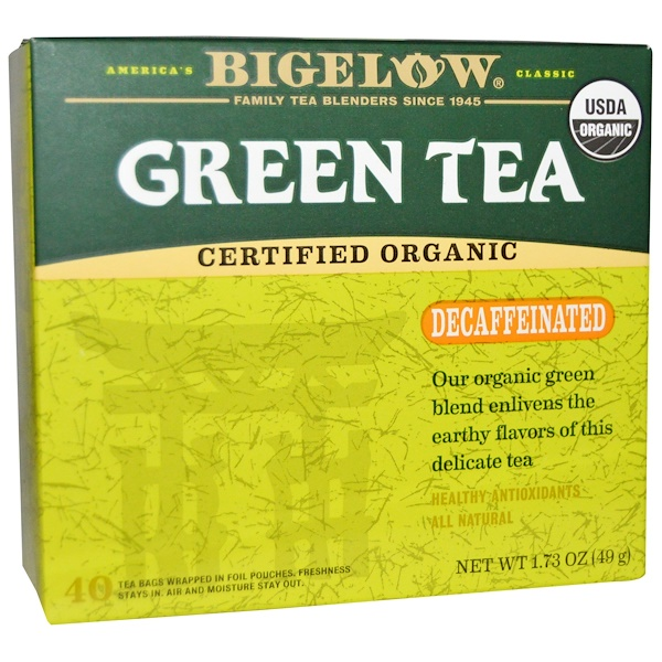 Bigelow, Organic Green Tea, Decaffeinated, 40 Tea Bags, 1.73 oz (49 g) (Discontinued Item)
