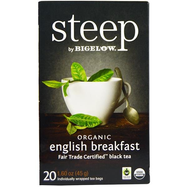 Bigelow, Steep, Black Tea, Organic English Breakfast, 20 Tea Bags, 1.60 oz (45 g) (Discontinued Item)