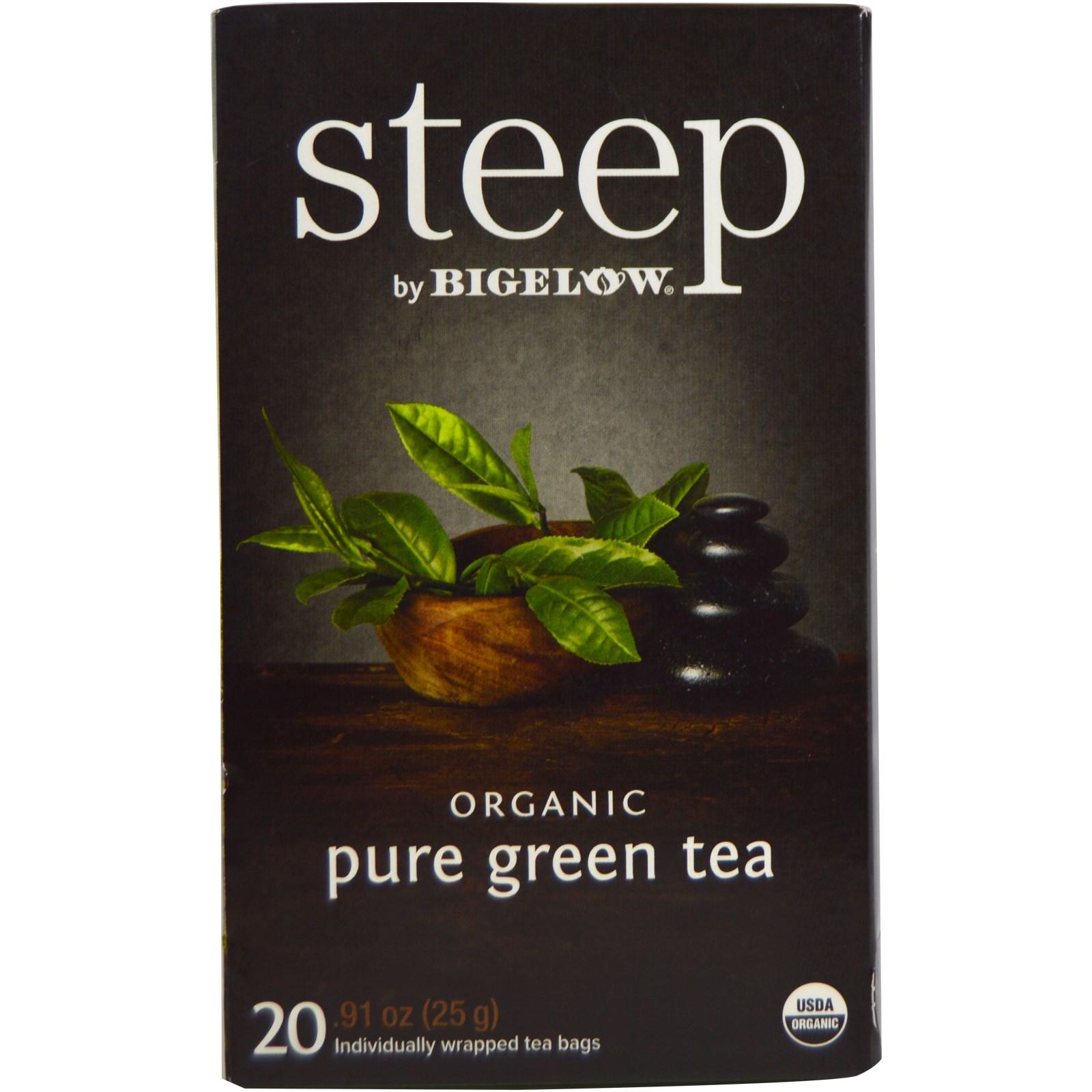 Bigelow, Стип, органический чистый зеленый чай, 20 пакетиков, 0,91 унции (25 г)