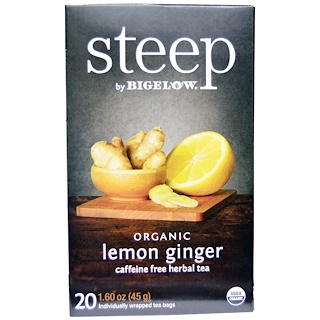 Bigelow, Steep, Organic Lemon Ginger Tea, 20 Tea Bags, 1.60 oz (45 g)