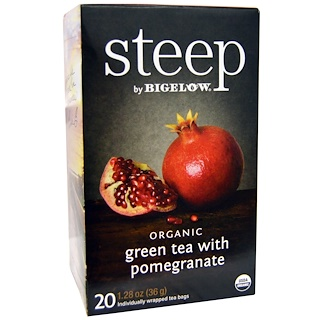 Bigelow, Steep, Organic Green Tea with Pomegranate, 20 Tea Bags, 1.28 oz (36 g)