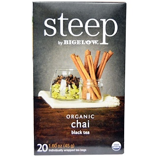 Bigelow, Steep, Black Tea, Organic Chai, 20 Tea Bags, 1.60 oz (45 g)