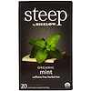 Bigelow, Steep, Organic Mint Herbal Tea, Caffeine Free, 20 Tea Bags, 1.41 oz (40 g)