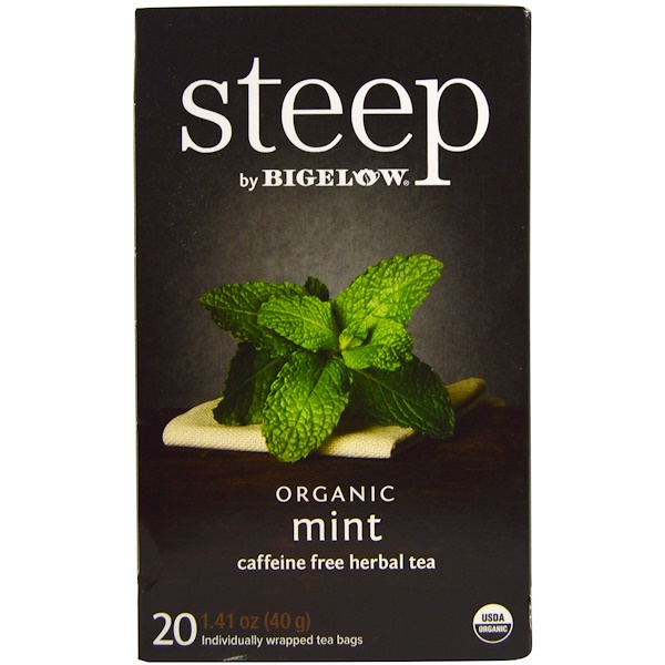 Bigelow, Steep, Organic Mint Herbal Tea, Caffeine Free, 20 Tea Bags, 1.41 oz (40 g) (Discontinued Item)
