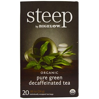Bigelow, Steep, Organic Pure Green Decaffeinated Tea, 20 Tea Bags, 0.86 oz (24 g)