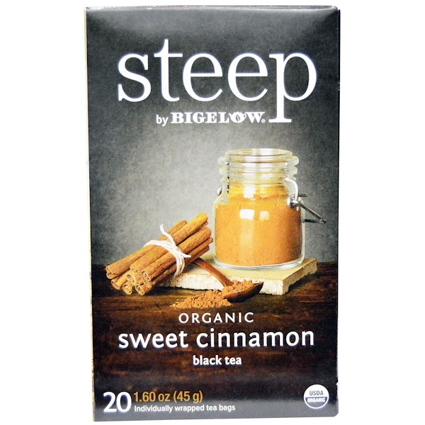 Bigelow, Steep, Black Tea, Organic Sweet Cinnamon, 20 Tea Bags, 1.60 oz (45 g) (Discontinued Item)