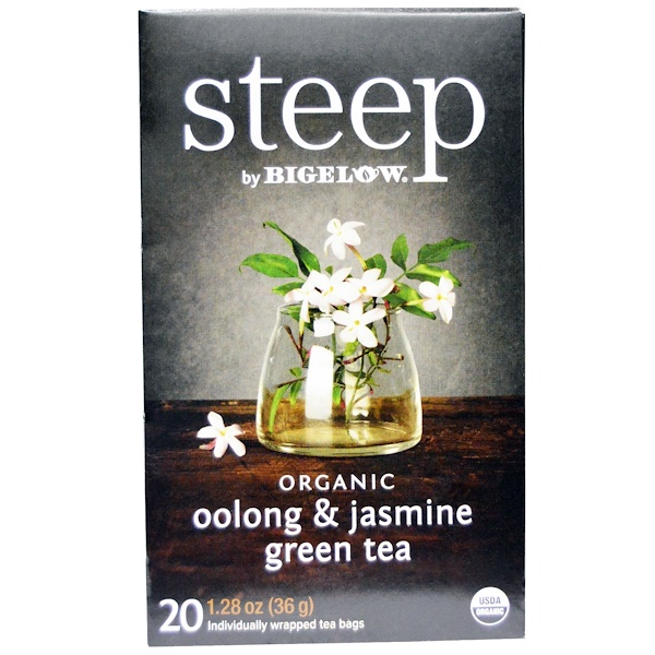 Bigelow, Steep, Organic Oolong & Jasmine Green Tea, 20 Tea bags, 1.28 oz (36 g) (Discontinued Item)