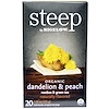 Bigelow, Steep, Organic Dandelion & Peach, Rooibos & Green Tea, 20 Tea Bags, 1.18 oz (33 g)