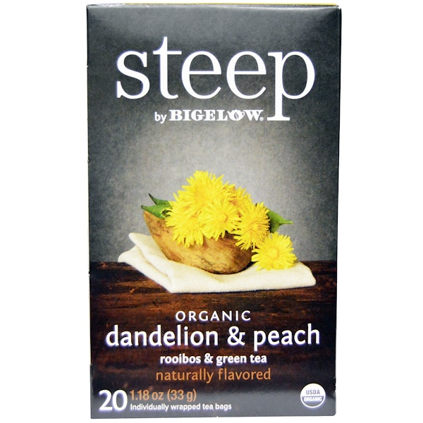 Bigelow, Steep, Organic Dandelion & Peach, Rooibos & Green Tea, 20 Tea Bags, 1.18 oz (33 g) (Discontinued Item)