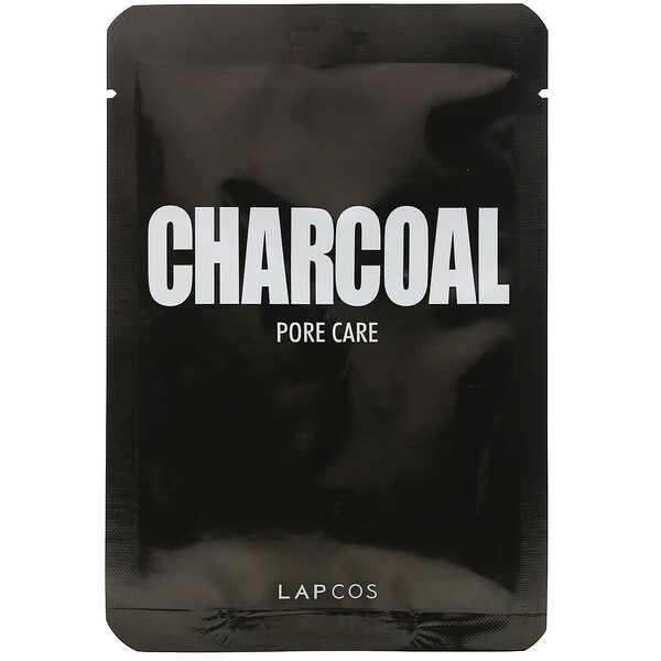 Lapcos, Charcoal Sheet Beauty Mask, Pore Care, 1 Sheet, 0.84 fl oz (25 ml)