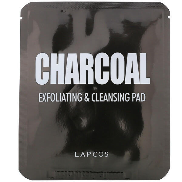 Lapcos, Charcoal, Exfoliating & Cleansing Pad, 5 Pads, 0.24 fl oz ( 7 g) Each