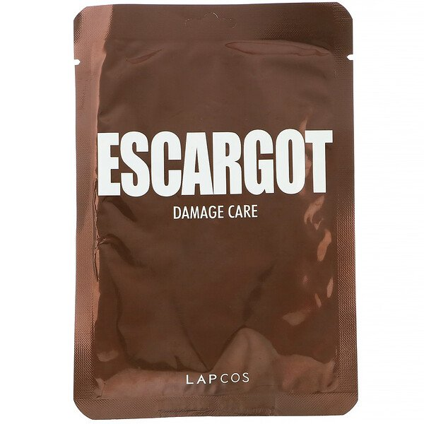 Lapcos, Escargot Sheet Beauty Mask, Damage Care, 1 Sheet, 0.91 fl oz (27 ml)