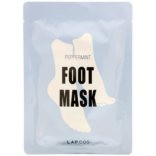 Lapcos, Foot Mask, Peppermint, 1 Pair, 0.60 fl oz (18 ml)