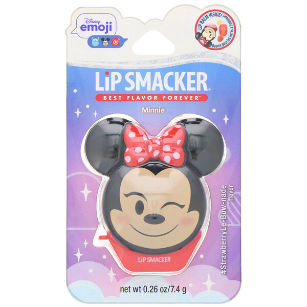 Disney Emoji Lip Balm, Minnie, #StrawberryLe-Bow-nade, 0.26 oz (7.4 g)