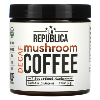 LA Republica, 蘑菇咖啡,含 7 種超級食品 - 蘑菇,脫因,2.12 盎司(60 克)