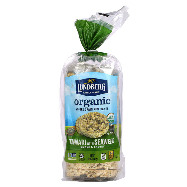 Organic Whole Grain Rice Cakes, Tamari with Seaweed, 8.5 oz (241 g)
