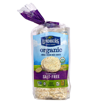 Купить Lundberg Organic Whole Grain Rice Cakes, Brown Rice, Salt Free, 8.5 oz (241 g)