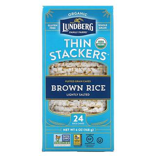 Lundberg, Organic Thin Stackers,谷物膨化饼,糙米,微咸,24 块米饼,6 盎司(168 克)