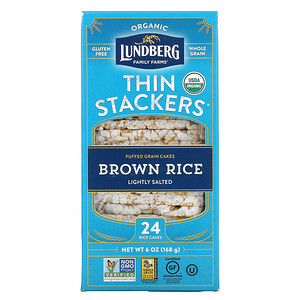 Lundberg, Organic Thin Stackers, Puffed Grain Cakes, Brown Rice, Lightly Salted,  24 Rice Cakes, 6 oz (168 g)