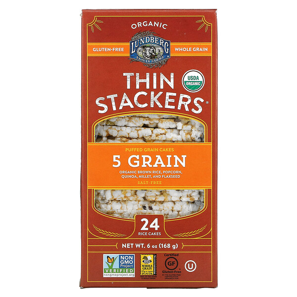 Organic Thin Stackers, Puffed Grain Cakes, 5 Grain, Salt-Free, 24 Rice Cakes, 6 oz (168 g)