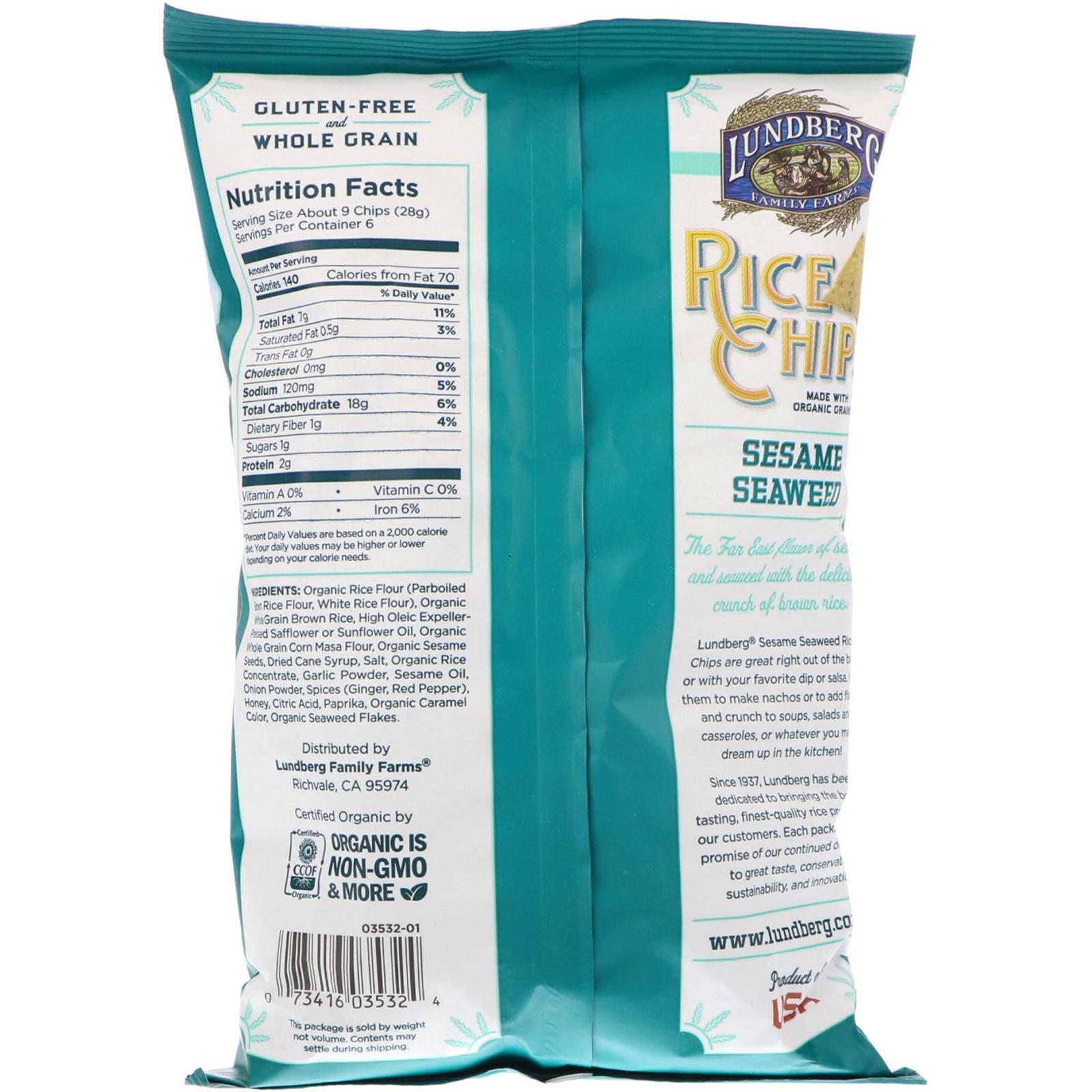 Lundberg, Rice Chips, Sesame & Seaweed, 6 oz (170 g) - iHerb.com