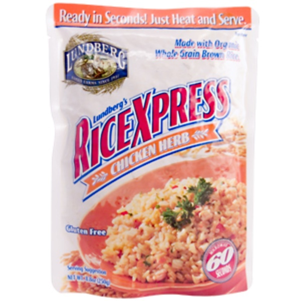 Lundberg, RiceXpress, Chicken Herb, Gluten Free, 8.8 oz. (250 g) (Discontinued Item)