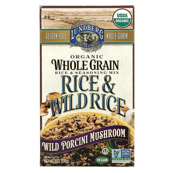 Organic Whole Grain Rice & Seasoning Mix, Rice & Wild Rice, Wild Porcini Mushroom, 6 oz (170 g)