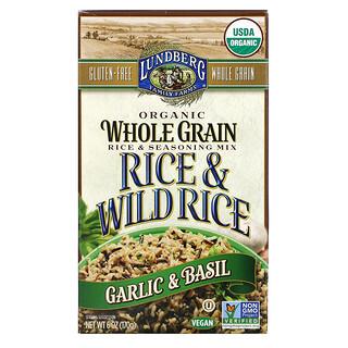 Lundberg, Organic Whole Grain Rice & Seasoning Mix, Rice & Wild Rice, Garlic & Basil, 6 oz (170 g)