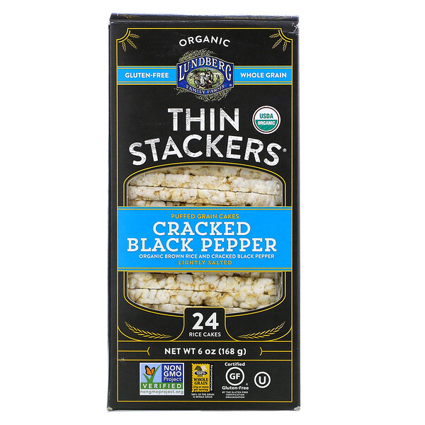 Organic Thin Stackers, Puffed Grain Cakes, Cracked Black Pepper, Lightly Salted, 24 Rice Cakes, 6 oz (168 g)