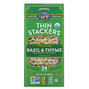 Lundberg, Organic Thin Stackers, Puffed Grain Cakes, Basil & Thyme, Lightly Salted, 24 Rice Cakes, 6 oz (168 g)