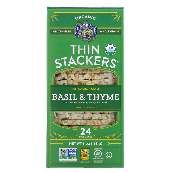 Organic Thin Stackers, Puffed Grain Cakes, Basil & Thyme, Lightly Salted, 24 Rice Cakes, 6 oz (168 g)