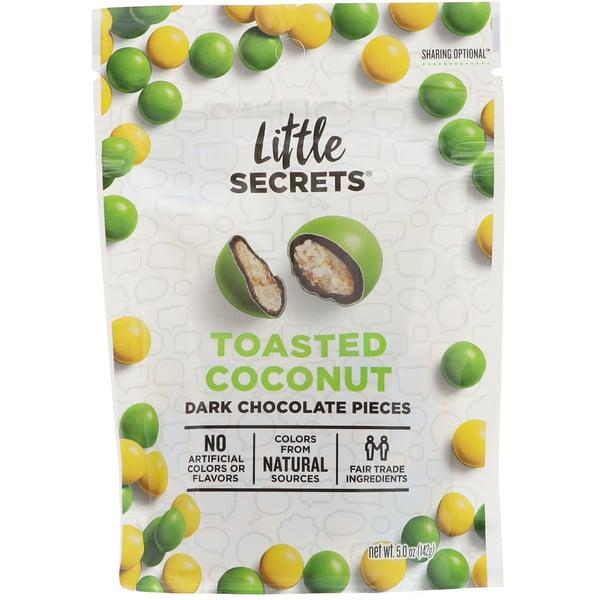 Little Secrets, قطع شوكولا داكنة، جوز الهند المحمص، 5 أوقية (142 غرام)