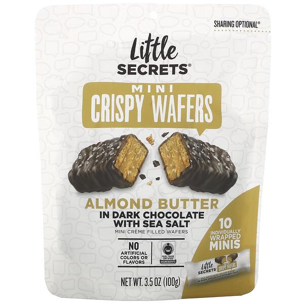 Little Secrets, 迷你酥脆薄威化餅,黑巧克力含杏仁黃油和海鹽,10 個獨立迷你包裝,3.5 盎司(100 克)