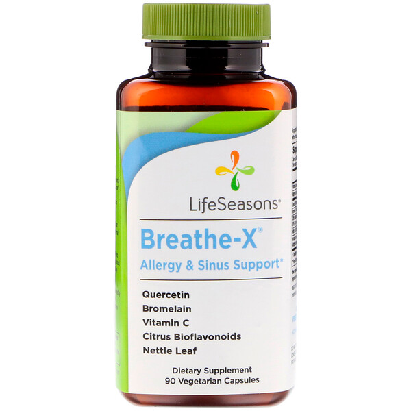 LifeSeasons, Breathe-X, Allergy & Sinus Support, 90 Vegetarian Capsules