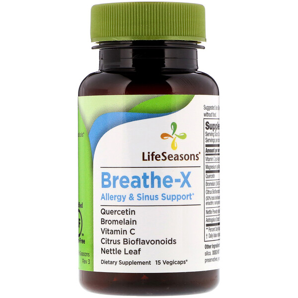 LifeSeasons, Breathe-X, Allergy & Sinus Support, 15 Vegicaps